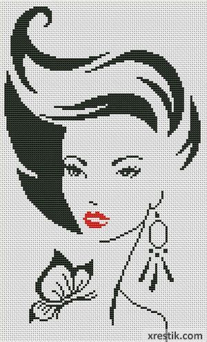 Stilnaya-devushka300 Схема для вышивки scheme for cross stitch