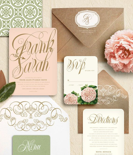 Pink Peony Wedding Invitation Watercolor Crest Vintage Blush Fl Print Gold Calligraphy French Garden Party