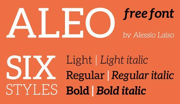 Descargar. Slab serif Aleo tiene detalles semi-redondeados y una estructura elegante.