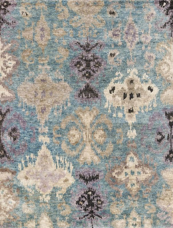 100% jute, large scale ikat design rug, beautiful in person. We have large samples of additional color ways available.