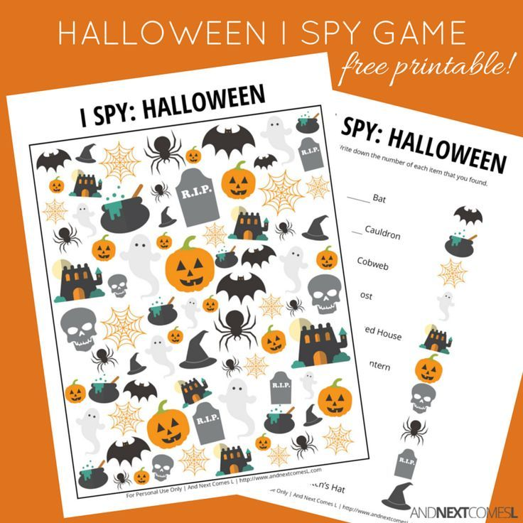Free Halloween themed I Spy game for kids from And Next Comes L