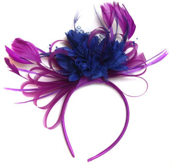 Plum Magenta and Royal Blue Fascinator on Headband Alice Band
