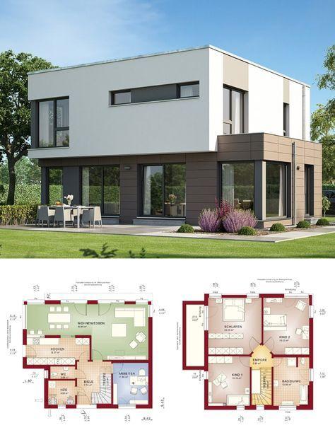 Bauhaus Stadtvilla modern mit Flachdach Architektur - Haus bauen ...