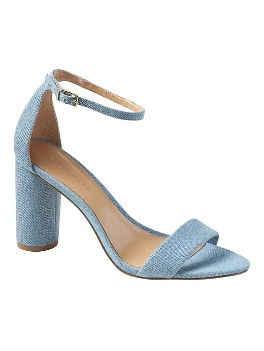 4d3a615ee867 Banana Republic Womens Bare High Block-Heel Denim Sandal Light Blue ...