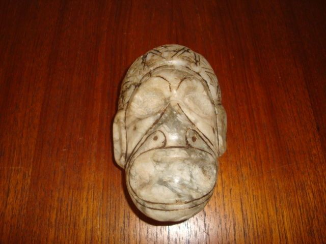 Taino - Greater Antilles - Mask - Anthropomorphic - Sculpted, chiselled and polished grey stone - height 65 mm x width 95 mm - Catawiki