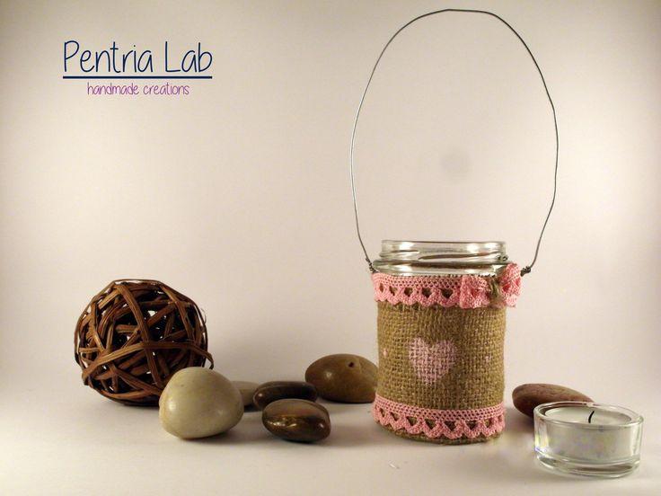 Lanterna vetro e iuta riciclo creativo : Lampade di pentria-lab