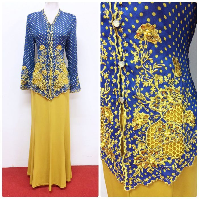 Get Kebaya Emily in blue + mustard at www.empireofelegance.com.my, available from S to XXL size!