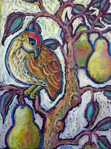 """Partridge in a Pear Tree l"" - Original Fine Art for Sale - © Ande Hall"