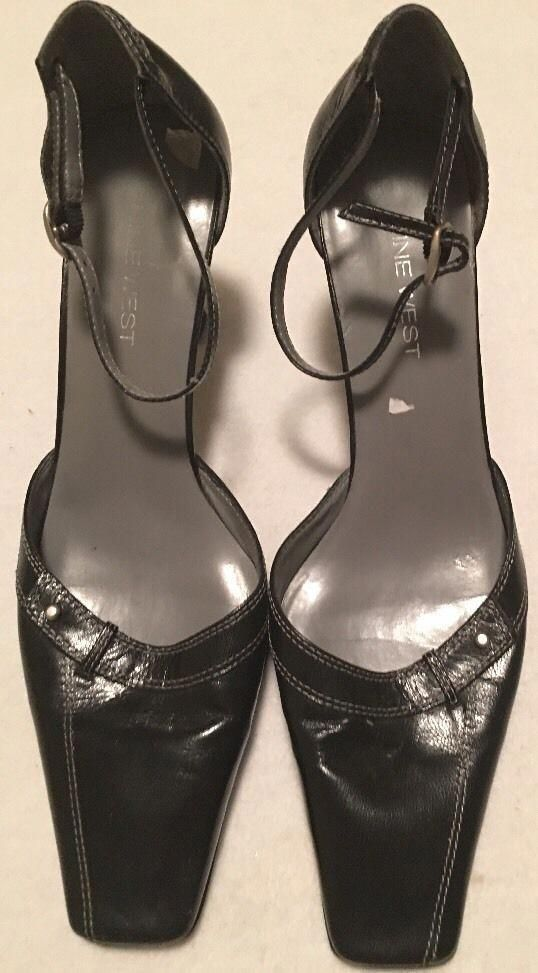 1208fafa04 Nine West Closed Square Toe Black Leather Heels Ankle Strap Shoes Sz 7.5M  #fashion #clothing #shoes #accessories #womensshoes #heels (ebay link) # ...