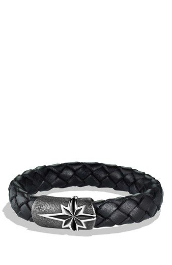 Free shipping and returns on David Yurman 'Maritime North Star' Bracelet at Nordstrom.com. Stippled sterling silver. Woven leather, 13mm wide. Magnetic clasp. By David Yurman; imported.