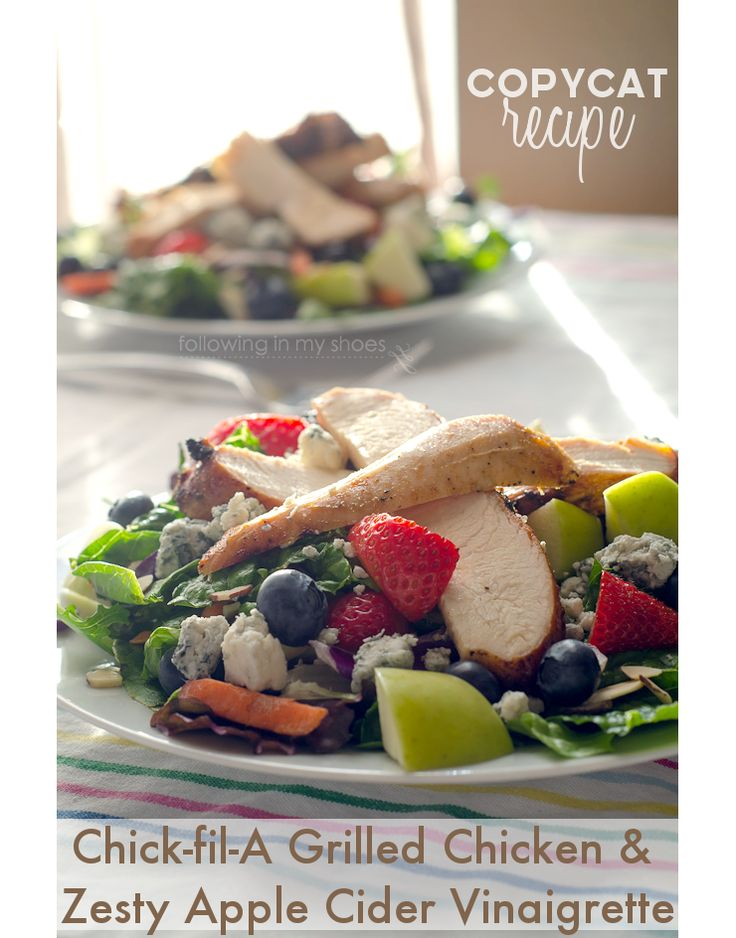 Copycat Chickfila Grilled Market Salad -- PALEO VERSION of the marinated grilled chicken AND the Zesty Apple Cider Vinaigrette.  YES! #paleo #glutenfree