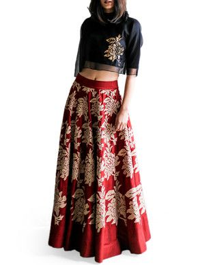 Taika Black Crop Top and Maroon Skirt Set | Taika by Poonam Bhagat | BYELORA.COM