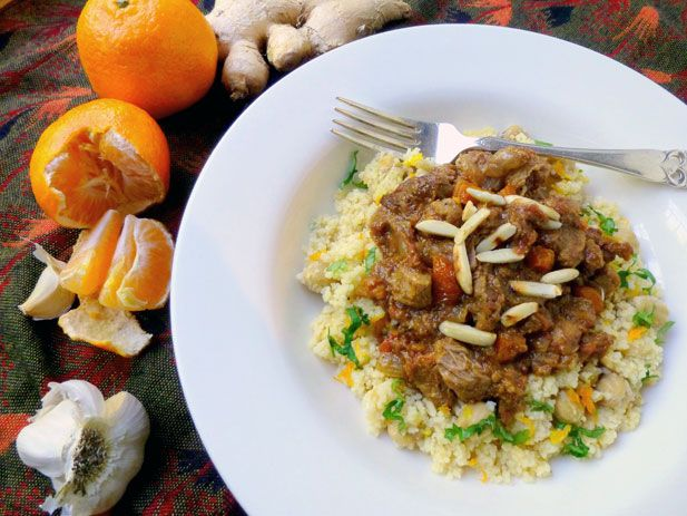 Moroccan-style beef and apricot stew