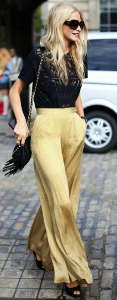 High-waisted, billowy pants in a buttery yellow. Great example of the wide-leg trend for spring.
