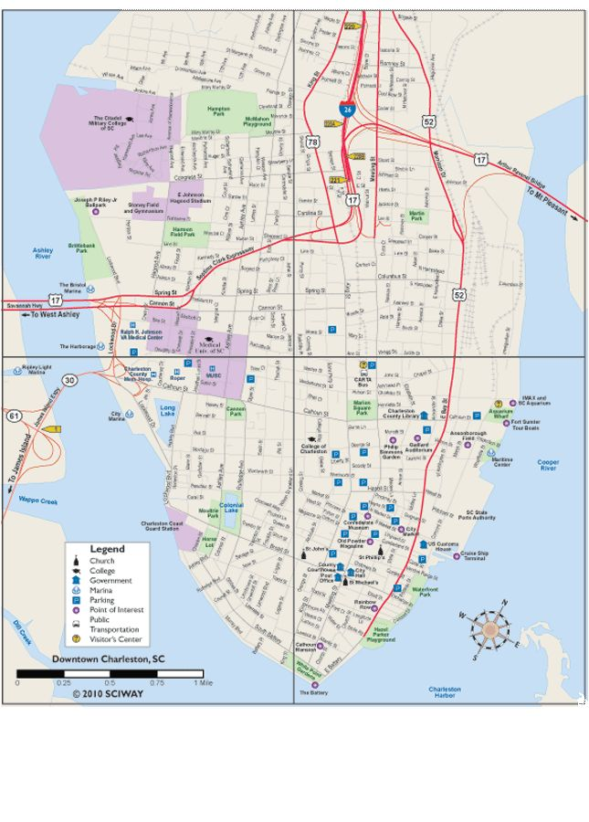 Printable Map of Charleston's Historic Downtown Peninsula - Charleston, South Carolina SC
