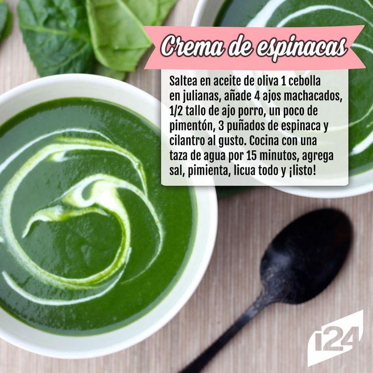 Deliciosa opción para cenar #Recetas #Light #Crema #Espinacas