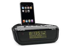 Pure Siesta iDock Serie II DAB FM Radio Reloj Despertador Negro iPhone