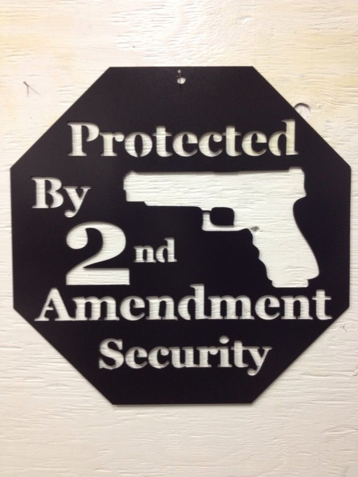 Protected by 2nd amendment security, guns, 2nd amendment, home protection, security, metal sign, aim #homesecurityguns