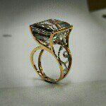 Amanda Henderson of Jewelust Custom design with tourmalated quartz, diamonds, yellow and white gold.