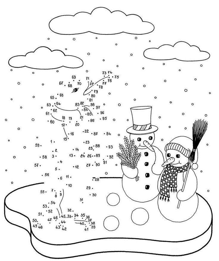 ausmalbild malen nach zahlen: pinguin und schneemänner