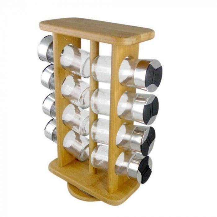 Jogo com 8 Porta Temperos de Vidro e Suporte Giratório de Bambu Supermercado Digital