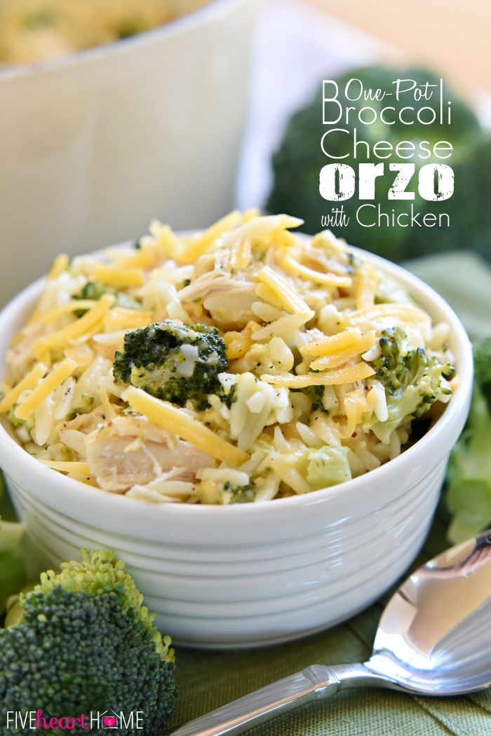 Broccoli Cheese Orzo with Chicken ~ a quick, simple, one-pot dinner using leftover chicken (or Thanksgiving turkey!) | FiveHeartHome.com