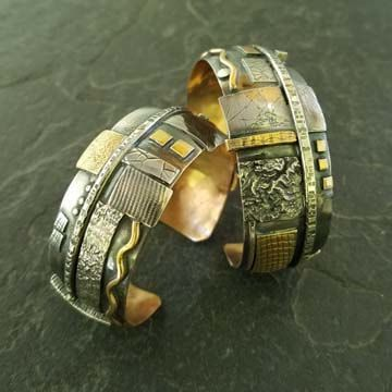 Unique, bold bracelets in copper, silver, gold and combinations. Styles vary from intricate mosaic designs to fold formed.