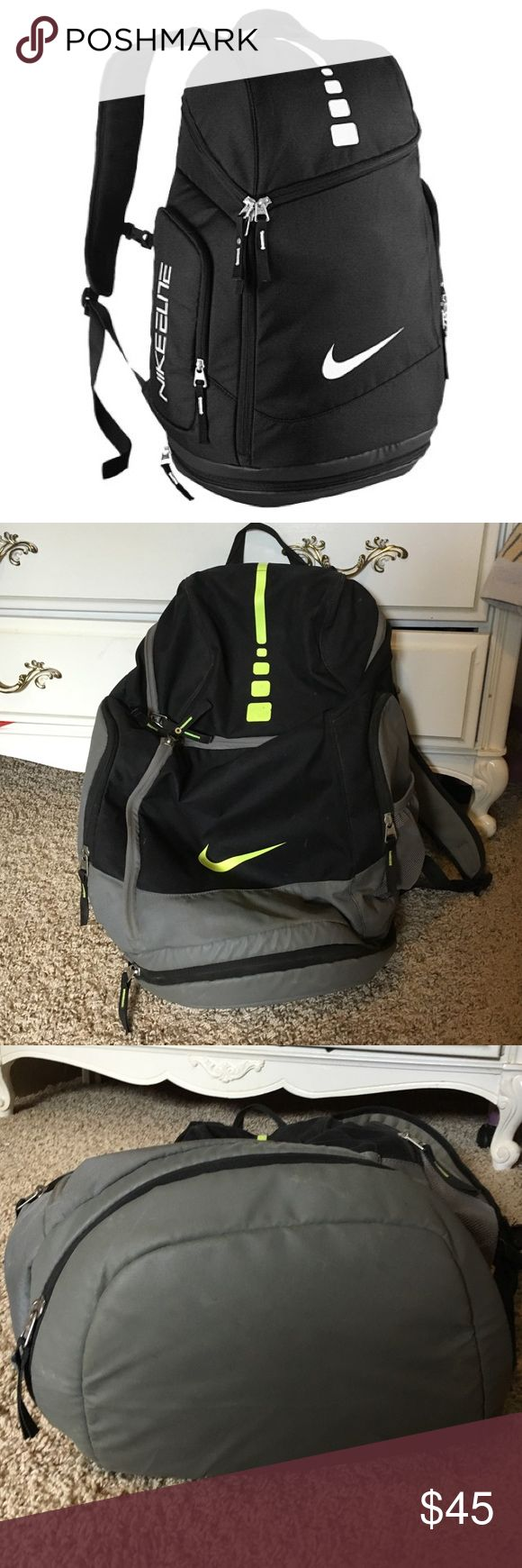 Nike Elite Backpack Nike Elite Backpack. Bought new last year for school, used it all school year but it's still in great condition. Only flaw is a small stain on the back (pictured). Has tons of space on the inside including a spot for your laptop. Water bottle holder, bottom unzips for shoes or whatever you'd like to place there. Pencil holder on the top. Has tons of life left, from a smoking home. Nike Bags Backpacks