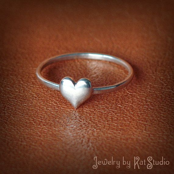 I <3 this ring! Just ordered one!! Yay!!!!Dainty Heart Ring  Handmade   Sterling Silver 925  by Katstudio, $18.00