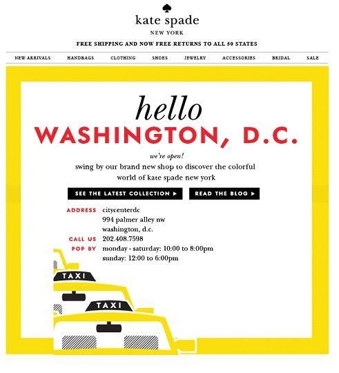 SUB: hello washington, d.c.! we're here! anche una NL istituzionale (apertura di una nuova boutique) può divenare simpatica e accattivante - con la grafica giusta.