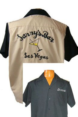 Vintage bowling shirts with cocktail glasses embroidered on the back.
