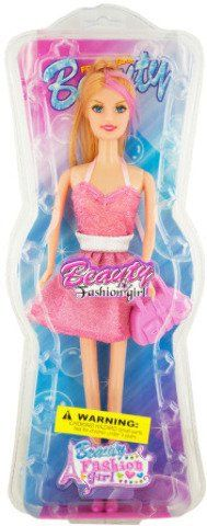 """Girls will love playing with this Trendy Fashion Doll featuring an 11.5"""" doll in a fun short dress with a stylish plastic handbag and heels. Her blond hair is styled and some dolls have pink streaks. For ages 3 and up. Comes packaged in a hanging box.       Famous Words... more details available at https://perfect-gifts.bestselleroutlets.com/gifts-for-holidays/toys-games/product-review-for-trendy-fashion-doll-with-handbag-package-quantity2/"""