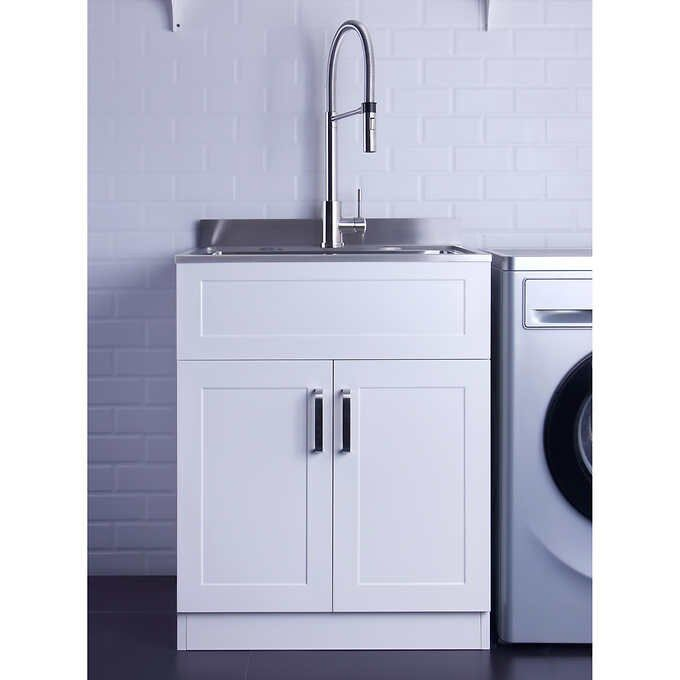 Stainless Steel Laundry Sink 25 X 22 With Faucet Cabinet By Afa Stainless Laundry Sink Laundry Room Sink Sink