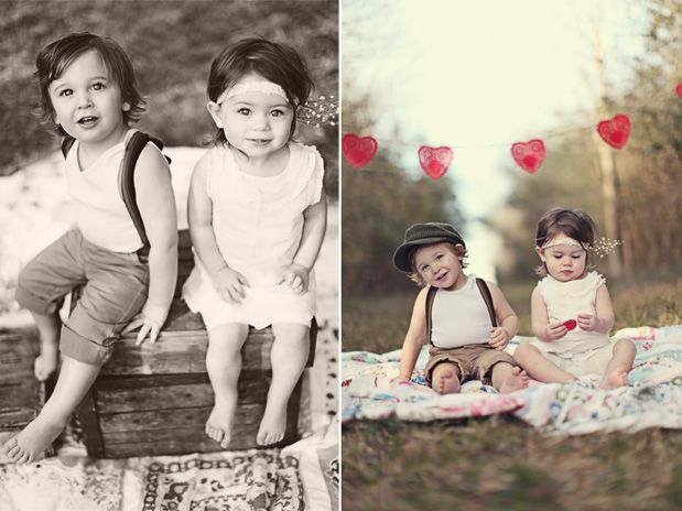 Love this photo shoot.  They're cute and actually don't look like they're trying too hard.  Photos by The Girls.
