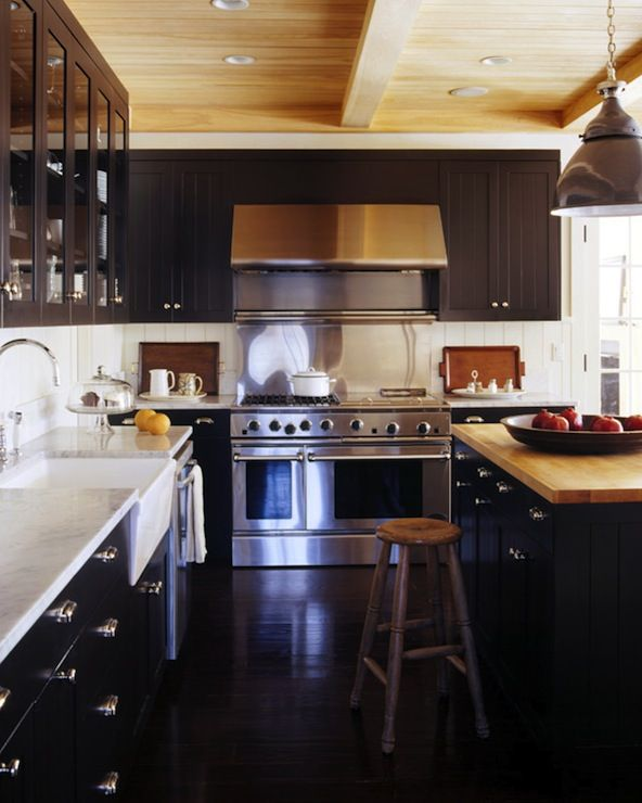 Kitchen black black cabinets and cabinets on pinterest for Black beadboard kitchen cabinets