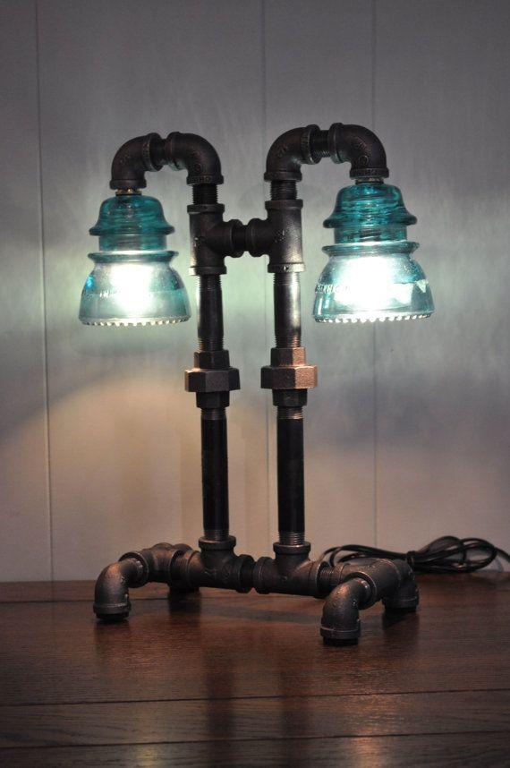 Twin Column Glass Insulator Dual Light Desk Lamp by luceantica