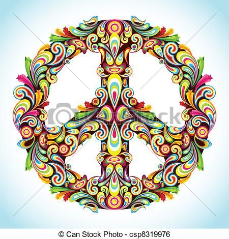 Clip Art Vector of Colorful Peace - illustration of peace sign ...