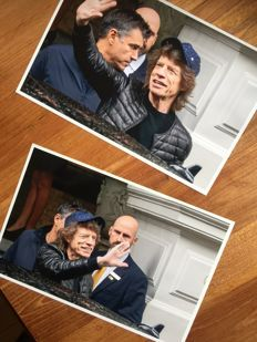 Rolling Stones Mick Jagger set of two high resolution original photo's 20x 30 cm signed by photographer JFM Geerling