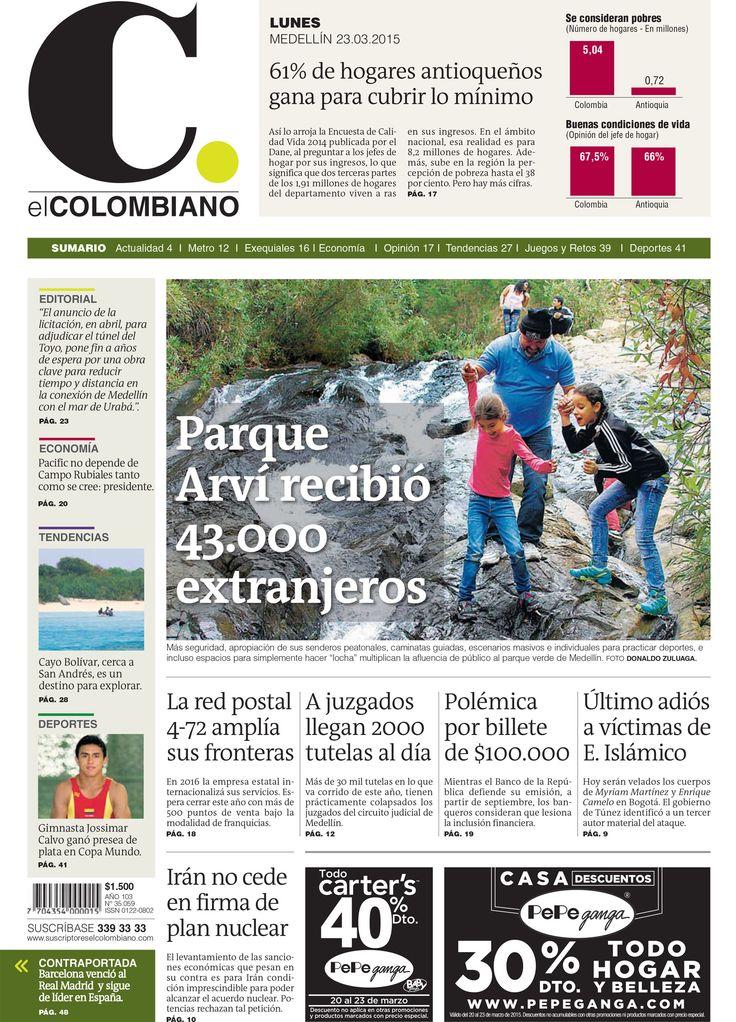 Esta es la Portada de El Colombiano para el lunes 23 de marzo de 2015.