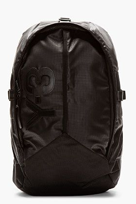 Y-3 Black Graph Print Mesh-Back Backpack