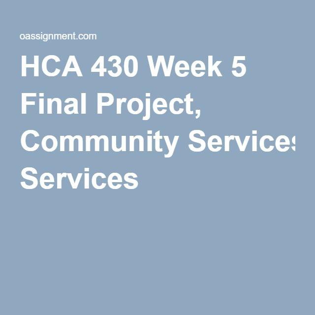 HCA 430 Week 5 Final Project, Community Services