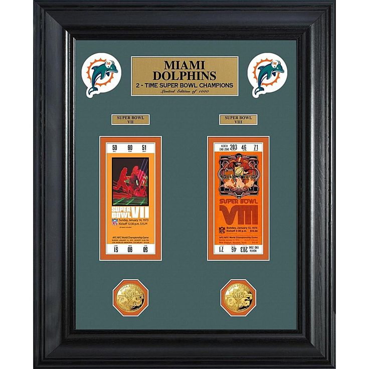 The Highland Mint Miami Dolphins Framed Super Bowl Ticket and Game Coin Collection