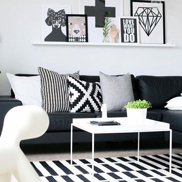Bom Dia Black Decor Organizesemfrescuras Blackwhite Decor Decoracao Sala Living Room White Black And White Living Room White Home Decor
