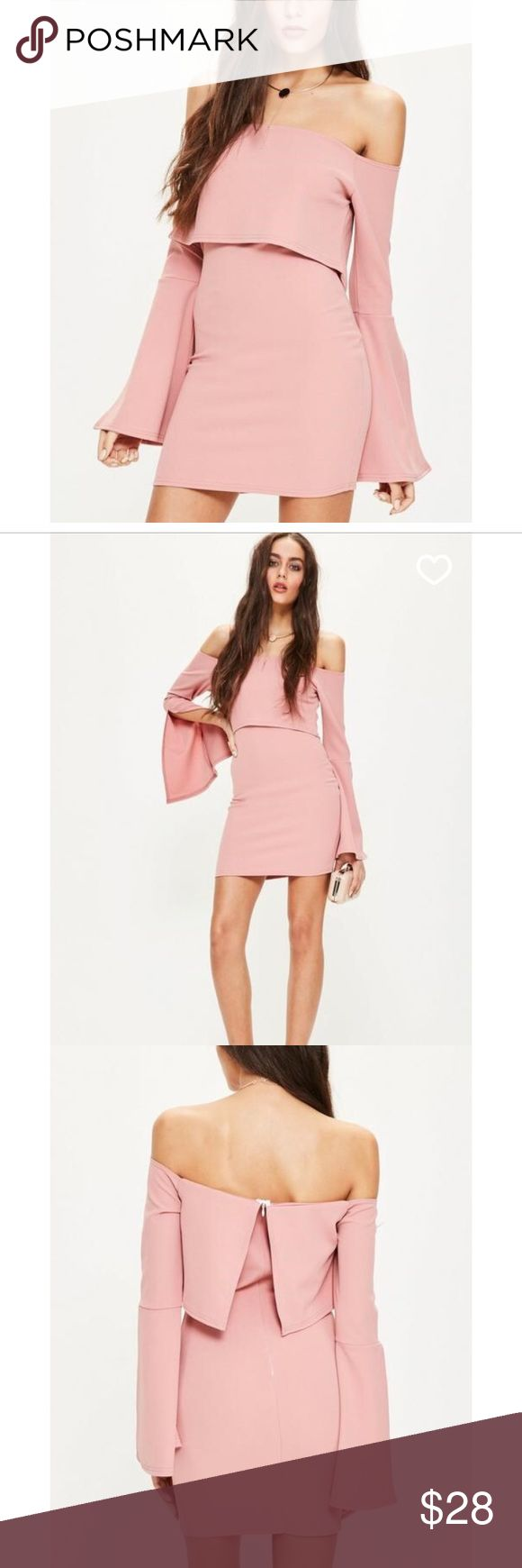"""Bardot Split sleeve Bodycon Dress NWT Never worn. New with tags. Bardot styles are not just a trend anymore they're a way of life - refresh your wardrobe with this pink bodycon dress, featuring a bardot style top, split sleeves and mini length. Stretch fit Mixed Fibres Approx length: 85cm/33.5"""" (Based on a UK size 8 sample) Jazmine wears a UK size 8 / EU size 36 / US size 4 and her height is 5'9"""" Missguided Dresses"""