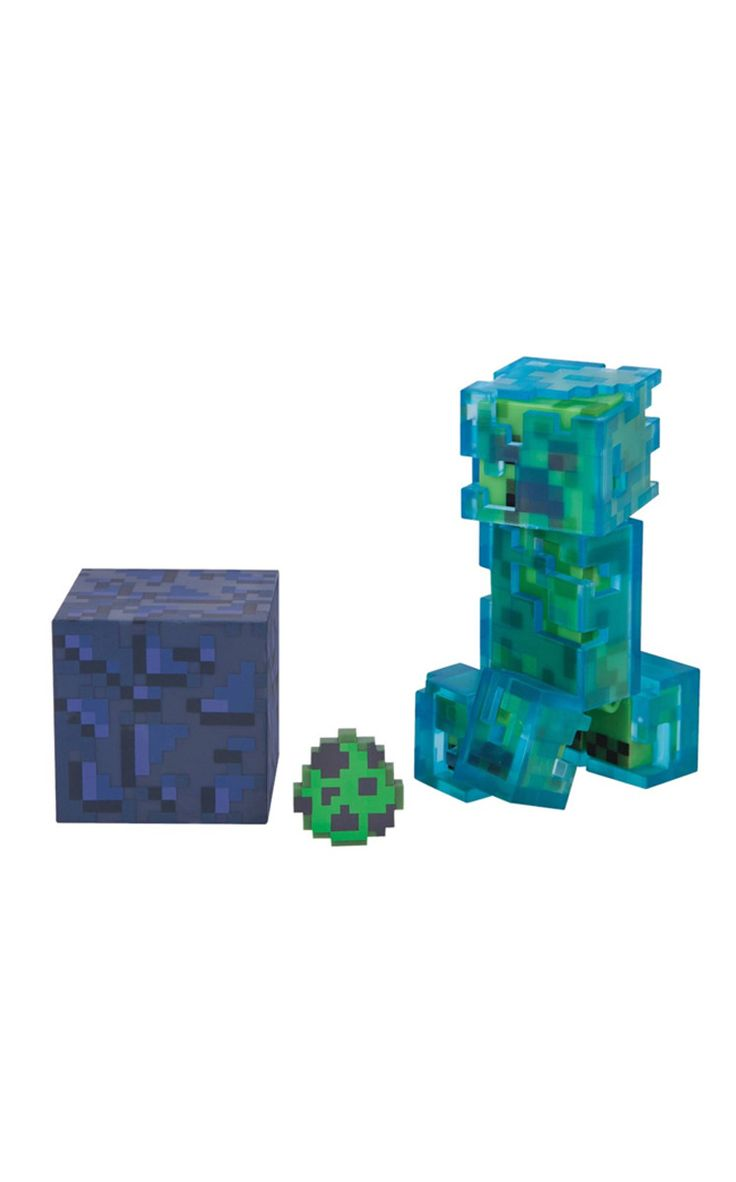 This is the Charged Creeper enemy mob from Minecraft in action figure toy form. He comes with a spawn egg and an obsidian block as accessories.