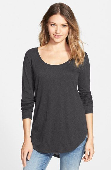A classically cool tee is updated with a generously scooped neckline, cute high/low hem and fit-perfecting seam centering the back. Scoop Neck Long Sleeve Tee
