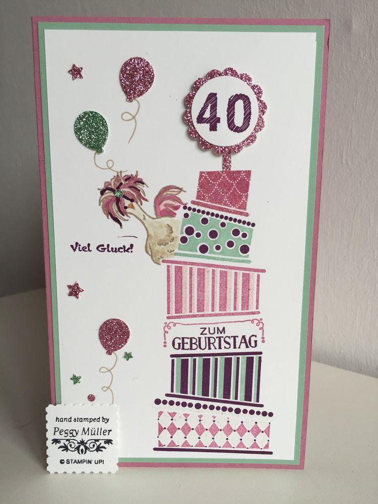 """Geburtstagskarte / Gutschein mit """"Cake Crazy"""" und """"das gelbe vom Ei """" Stampin up , Design Peggy Müller"""