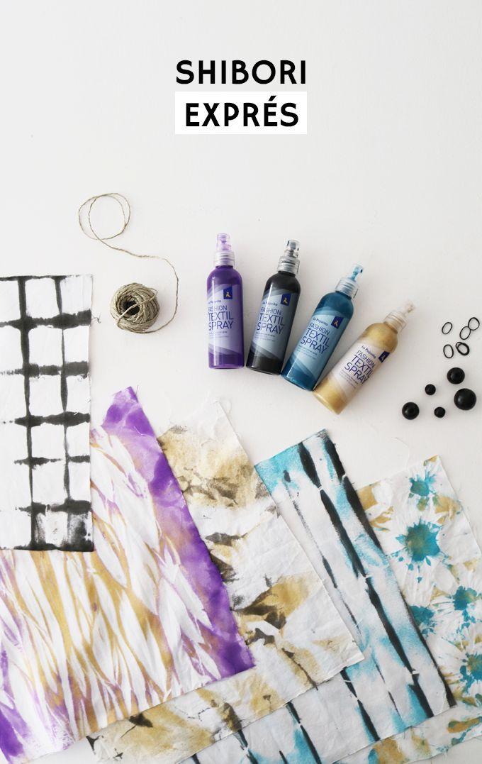Tutorial sobre cómo hacer shibori o tie dye con sprays textiles