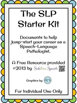 BOM PARA MODELO DE FORMULARIOS Free SLP Starter Kit..(Need a Teachers Pay Teachers account) Repinned by SOS Inc. Resources pinterest.com/sostherapy/.