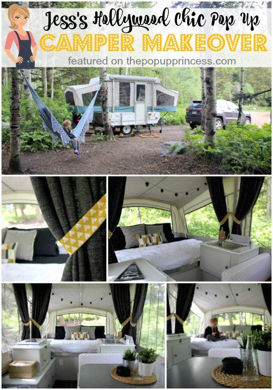 This gorgeous pop up camper makeover hss a vintage Hollywood vibe.  It's all glamped up without being overly girly.  I love it!  And it was all done for under $500!  ❤